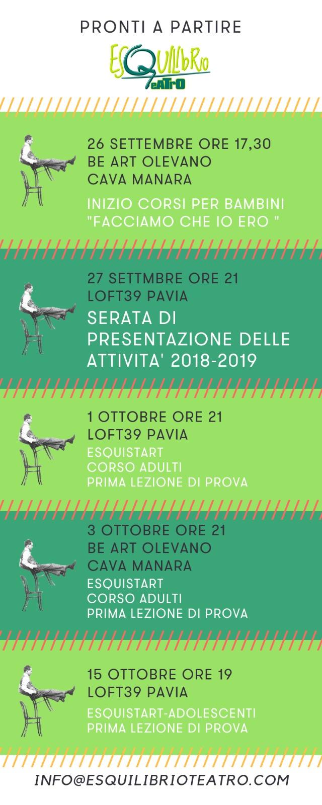 Esquilibrio Teatro autunno 2018 - Pavia e Cava Manara